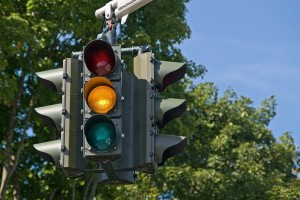 Yellow on a traffic signal means to slow down because the light will soon be red