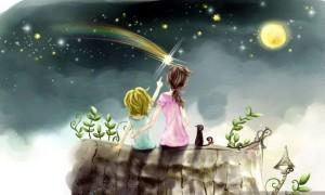 мальчик с мамой смотрит в небо х