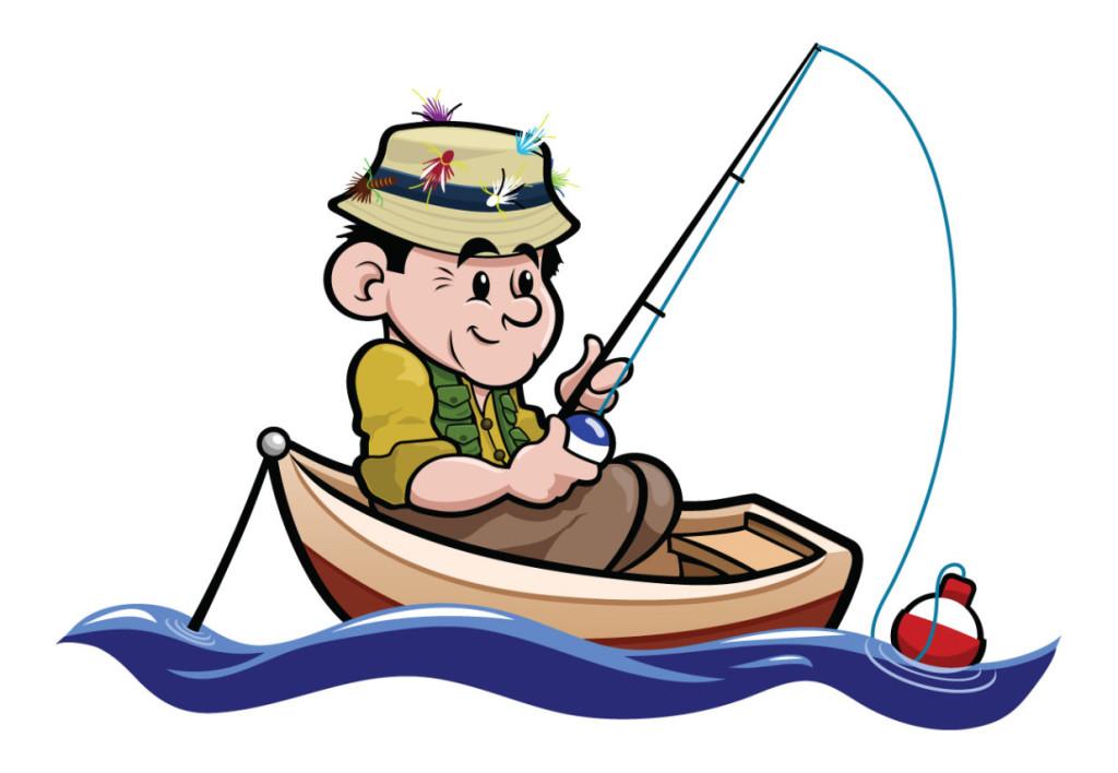 Рисунок рыбак ловит рыбу удочкой